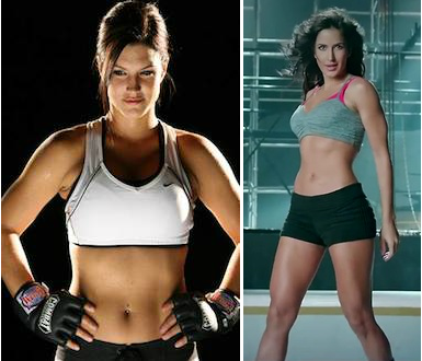 Left: Gina Carano. Right: Katrina Kaif.
